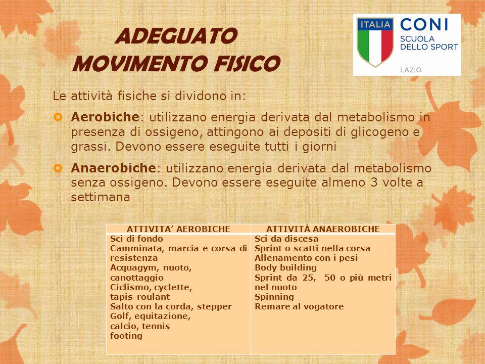 Le attività fisiche si dividono in:  Aerobiche: utilizzano energia derivata dal metabolismo in presenza di ossigeno, attingono ai depositi di glicoge