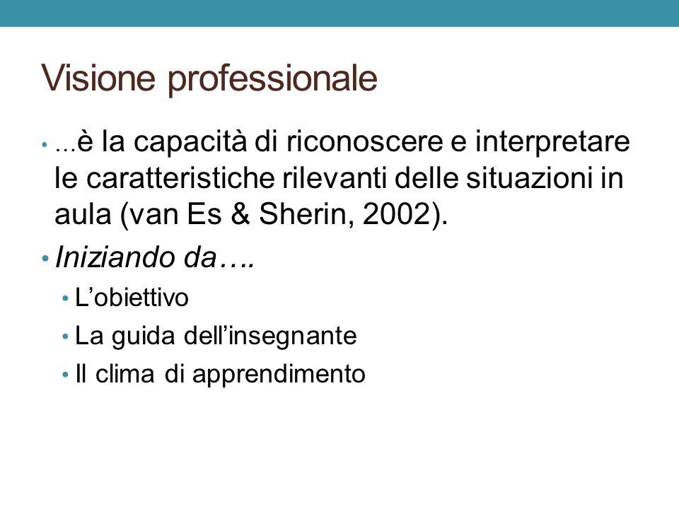 Visione professionale … è la capacità di riconoscere e interpretare le caratteristiche rilevanti delle situazioni in aula (van Es & Sherin, 2002).