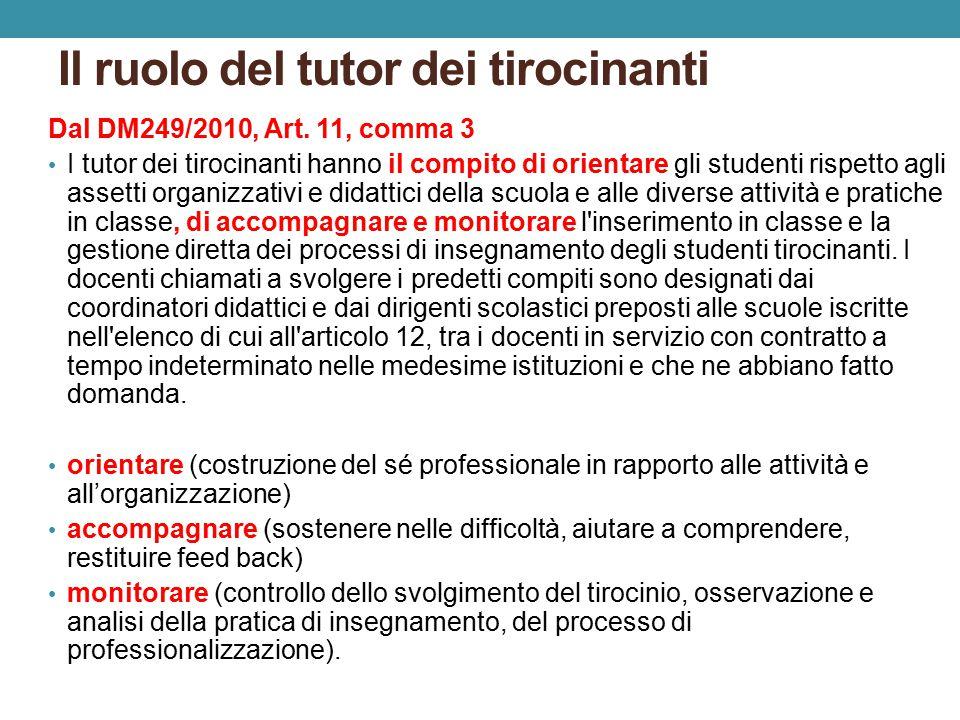 Il ruolo del tutor dei tirocinanti Dal DM249/2010, Art.