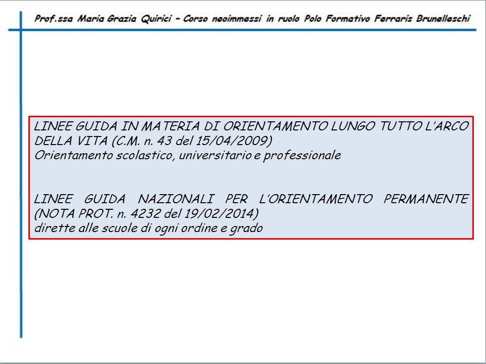 LINEE GUIDA IN MATERIA DI ORIENTAMENTO LUNGO TUTTO L'ARCO DELLA VITA (C.M. n. 43 del 15/04/2009) Orientamento scolastico, universitario e professional