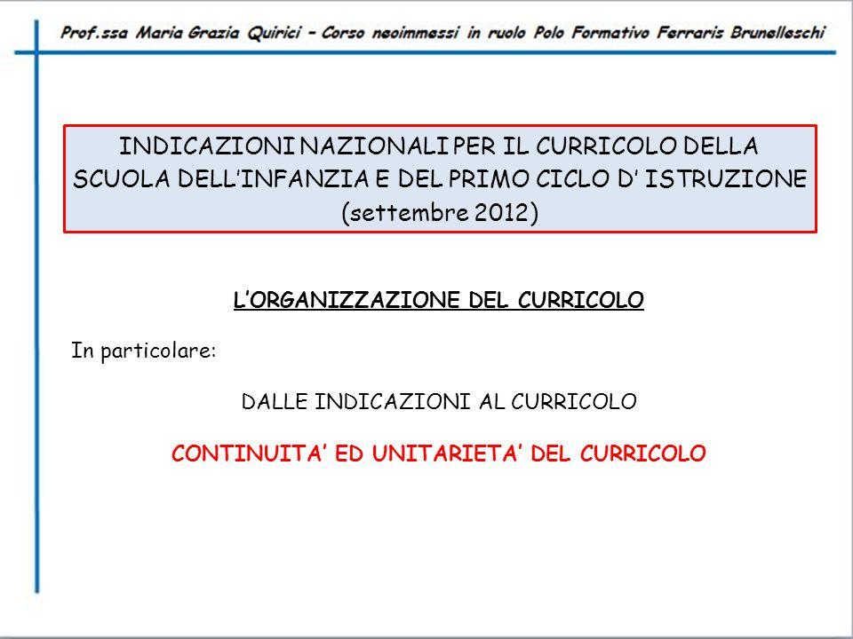 INDICAZIONI NAZIONALI PER IL CURRICOLO DELLA SCUOLA DELL'INFANZIA E DEL PRIMO CICLO D' ISTRUZIONE (settembre 2012) L'ORGANIZZAZIONE DEL CURRICOLO In p