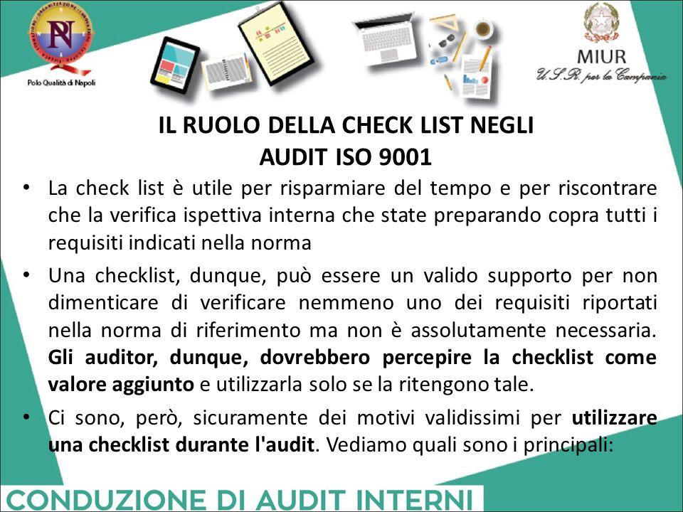 IL RUOLO DELLA CHECK LIST NEGLI AUDIT ISO 9001 La check list è utile per risparmiare del tempo e per riscontrare che la verifica ispettiva interna che