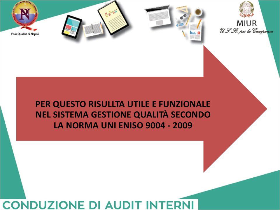 PER QUESTO RISULLTA UTILE E FUNZIONALE NEL SISTEMA GESTIONE QUALITÀ SECONDO LA NORMA UNI ENISO 9004 - 2009