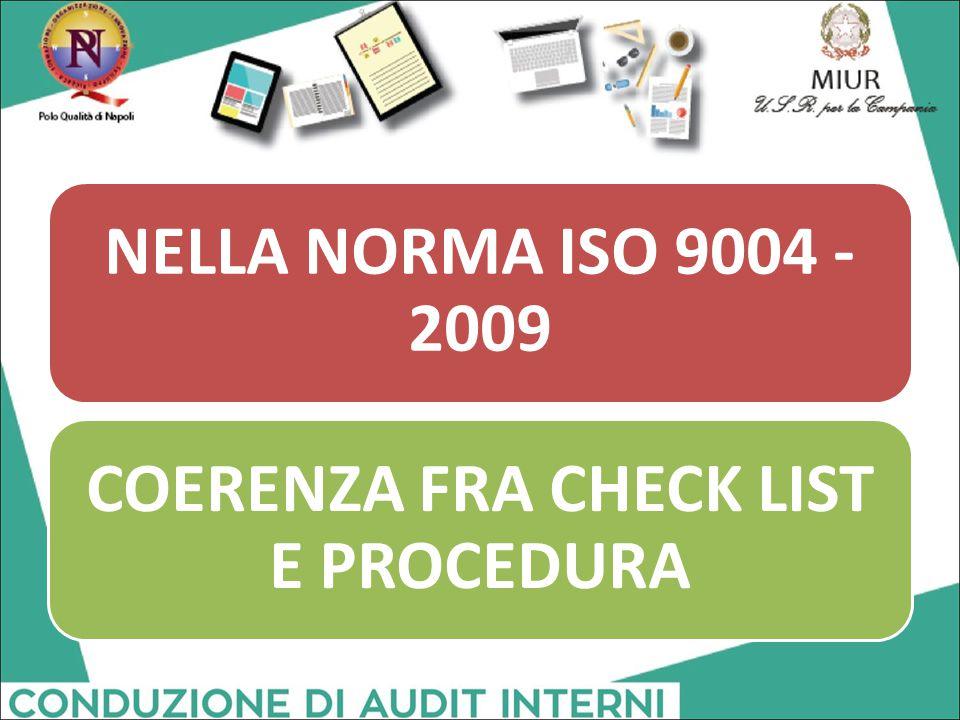 NELLA NORMA ISO 9004 - 2009 COERENZA FRA CHECK LIST E PROCEDURA