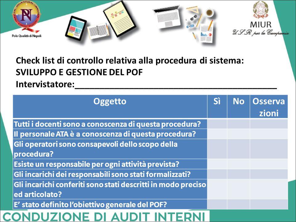Check list di controllo relativa alla procedura di sistema: SVILUPPO E GESTIONE DEL POF Intervistatore:_________________________________________ Ogget