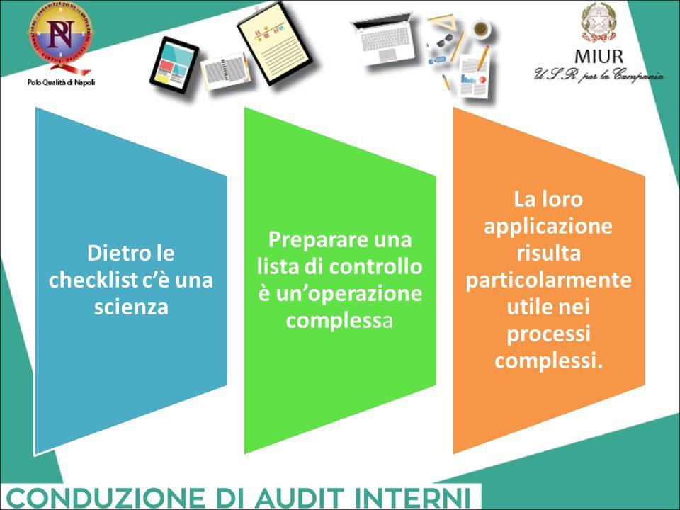 Dietro le checklist c'è una scienza Preparare una lista di controllo è un'operazione complessa La loro applicazione risulta particolarmente utile nei