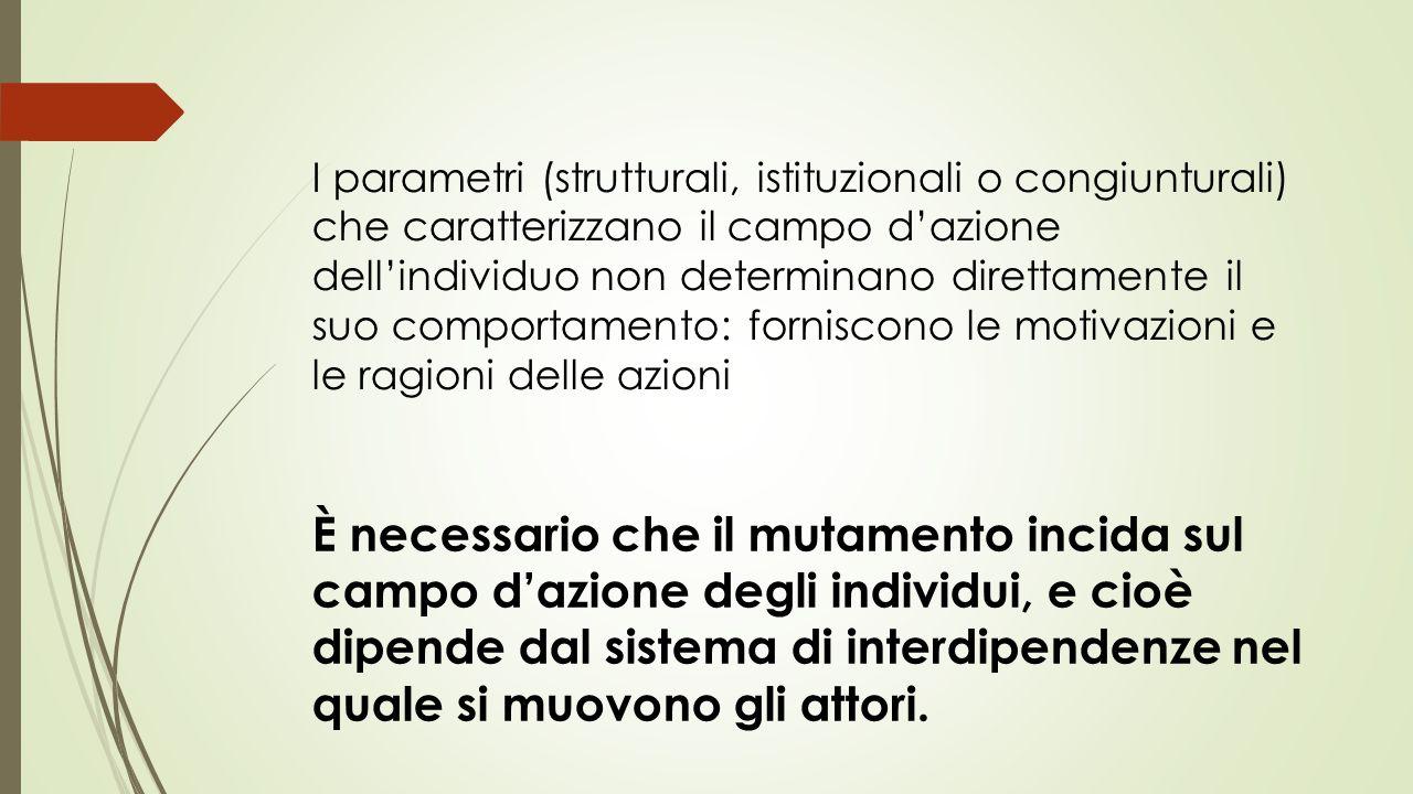 I parametri (strutturali, istituzionali o congiunturali) che caratterizzano il campo d'azione dell'individuo non determinano direttamente il suo compo