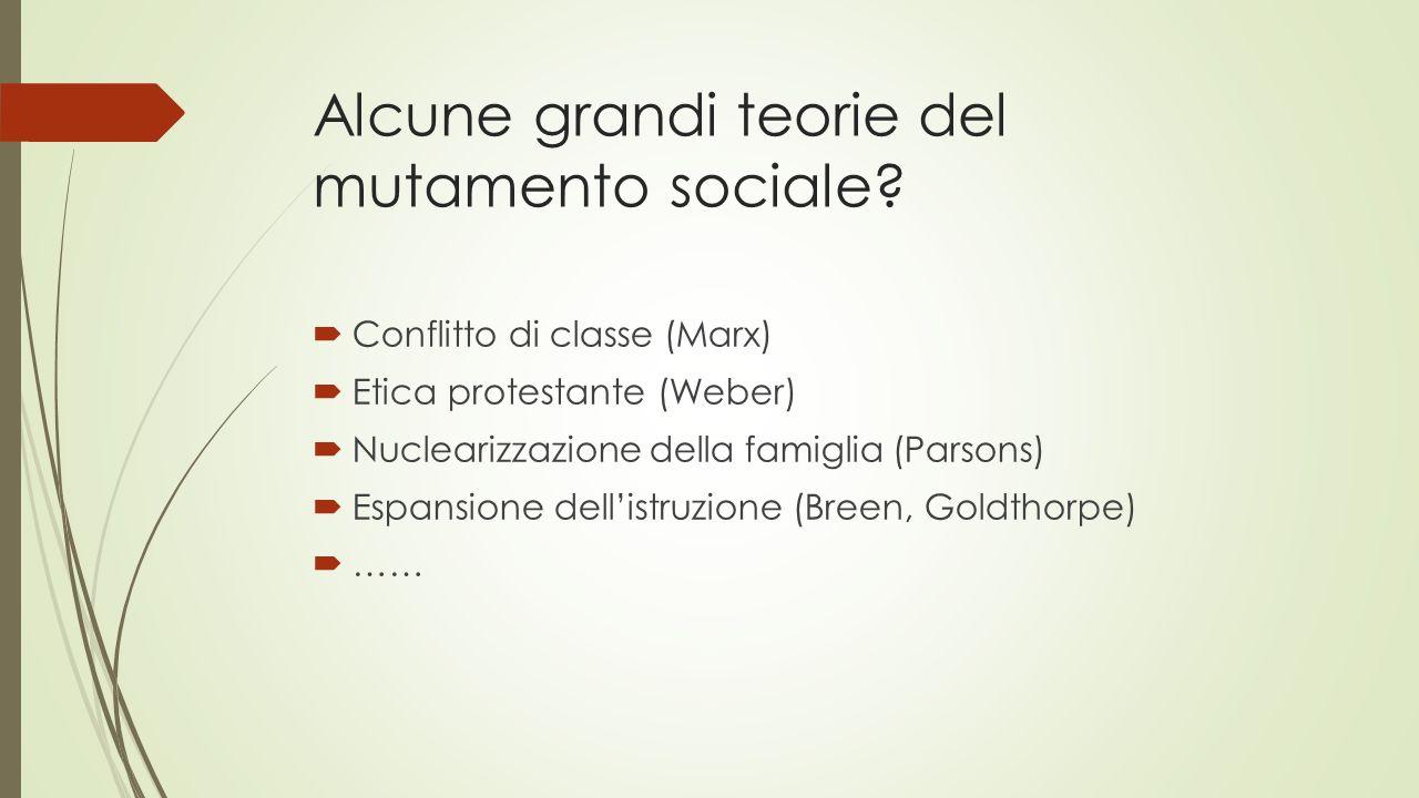 Alcune grandi teorie del mutamento sociale?  Conflitto di classe (Marx)  Etica protestante (Weber)  Nuclearizzazione della famiglia (Parsons)  Esp
