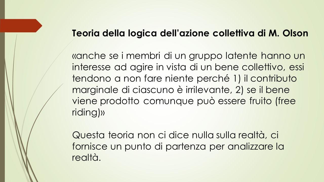 Teoria della logica dell'azione collettiva di M. Olson «anche se i membri di un gruppo latente hanno un interesse ad agire in vista di un bene collett