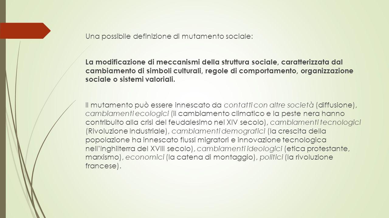Una possibile definizione di mutamento sociale: La modificazione di meccanismi della struttura sociale, caratterizzata dal cambiamento di simboli cult