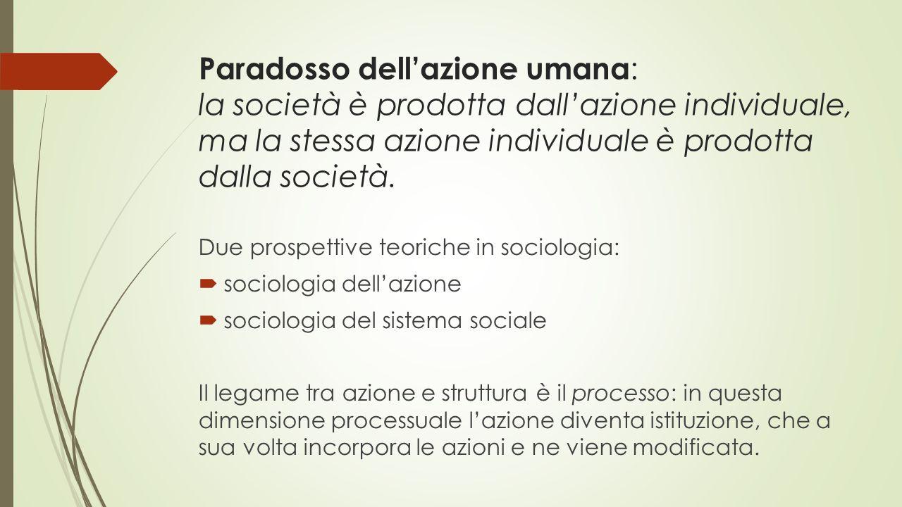 Paradosso dell'azione umana : la società è prodotta dall'azione individuale, ma la stessa azione individuale è prodotta dalla società. Due prospettive