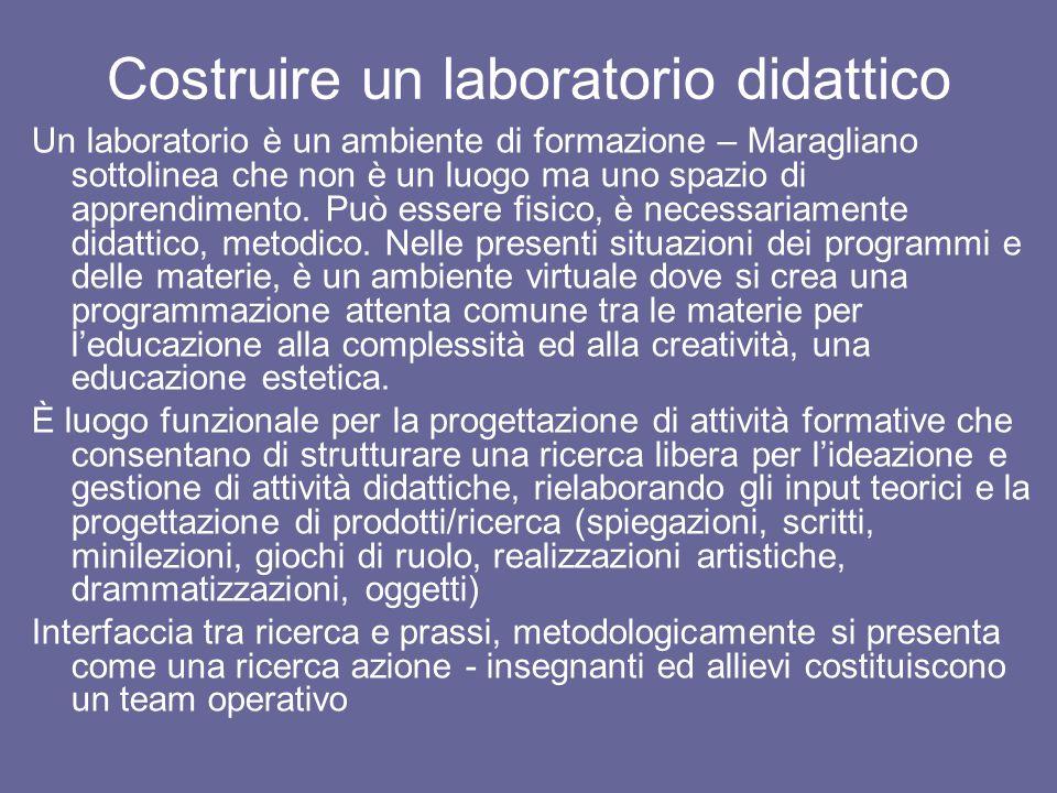 Costruire un laboratorio didattico Un laboratorio è un ambiente di formazione – Maragliano sottolinea che non è un luogo ma uno spazio di apprendimento.