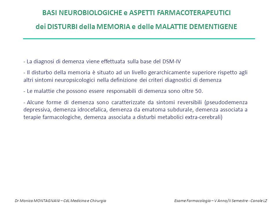 BASI NEUROBIOLOGICHE e ASPETTI FARMACOTERAPEUTICI dei DISTURBI della MEMORIA e delle MALATTIE DEMENTIGENE - La diagnosi di demenza viene effettuata su
