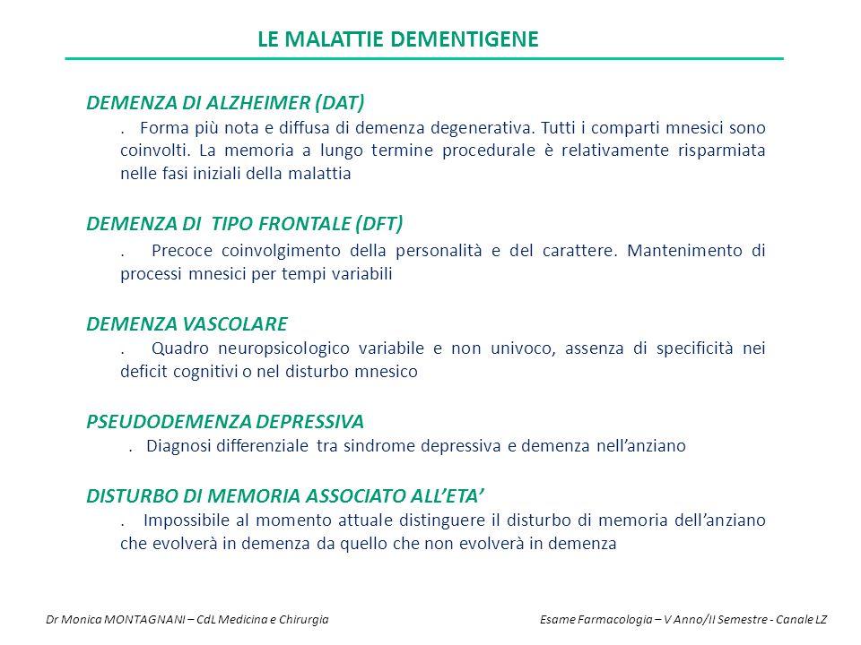 LE MALATTIE DEMENTIGENE DEMENZA DI ALZHEIMER (DAT). Forma più nota e diffusa di demenza degenerativa. Tutti i comparti mnesici sono coinvolti. La memo