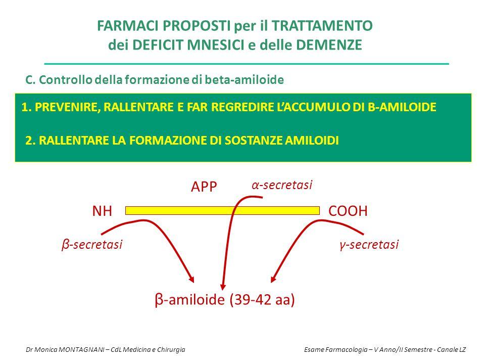 C. Controllo della formazione di beta-amiloide 1. PREVENIRE, RALLENTARE E FAR REGREDIRE L'ACCUMULO DI B-AMILOIDE 2. RALLENTARE LA FORMAZIONE DI SOSTAN
