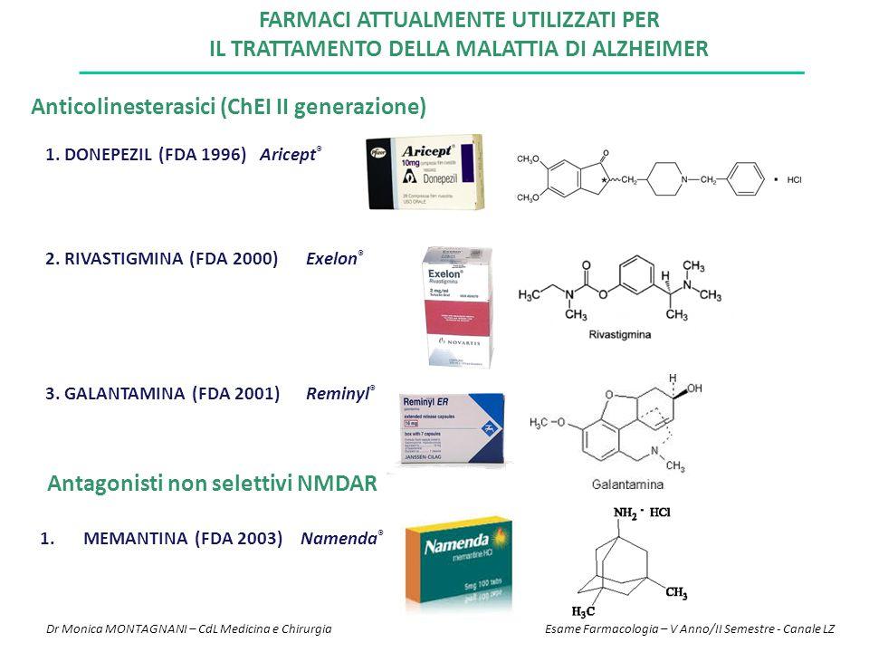 FARMACI ATTUALMENTE UTILIZZATI PER IL TRATTAMENTO DELLA MALATTIA DI ALZHEIMER 1. DONEPEZIL (FDA 1996) Aricept ® 2. RIVASTIGMINA (FDA 2000)Exelon ® Ant