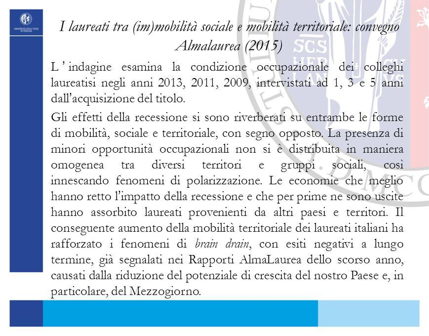 I laureati tra (im)mobilità sociale e mobilità territoriale: convegno Almalaurea (2015) L'indagine esamina la condizione occupazionale dei colleghi la