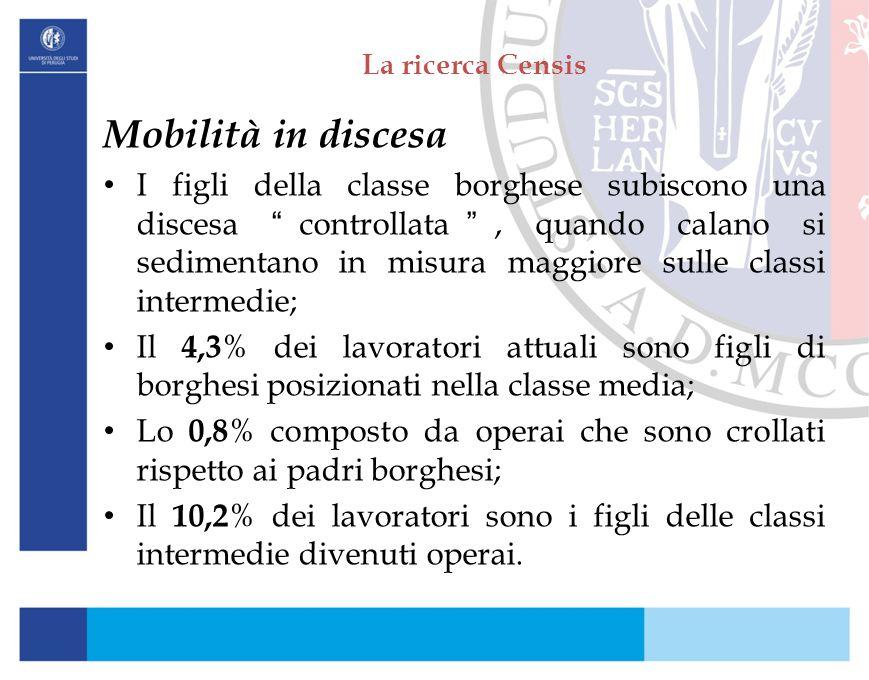 """La ricerca Censis Mobilità in discesa I figli della classe borghese subiscono una discesa """"controllata"""", quando calano si sedimentano in misura maggio"""