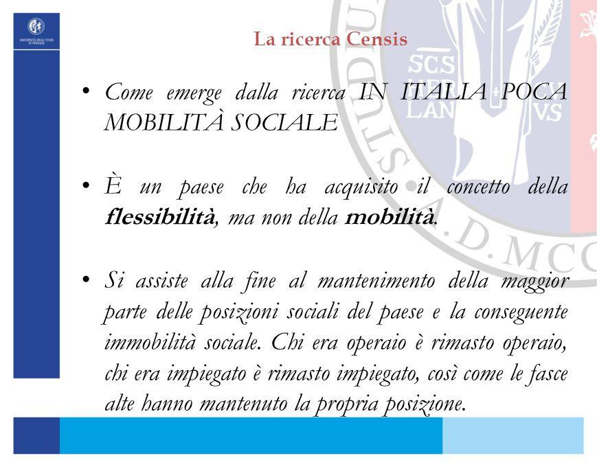 La ricerca Censis Come emerge dalla ricerca IN ITALIA POCA MOBILITÀ SOCIALE È un paese che ha acquisito il concetto della flessibilità, ma non della m