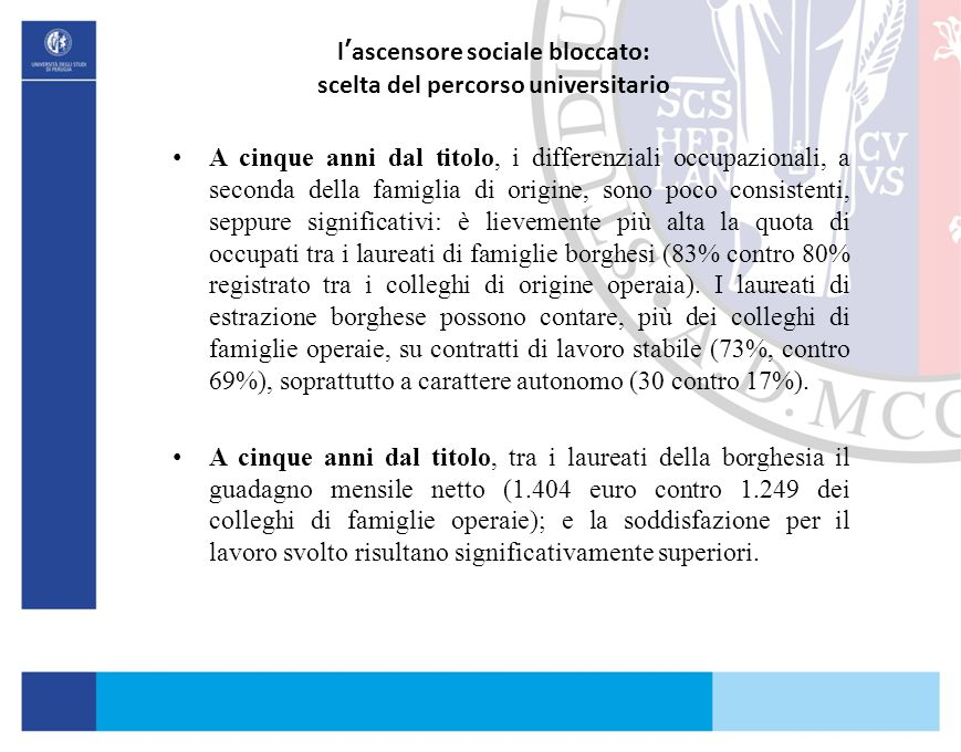 l'ascensore sociale bloccato: scelta del percorso universitario A cinque anni dal titolo, i differenziali occupazionali, a seconda della famiglia di o