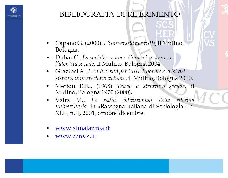 BIBLIOGRAFIA DI RIFERIMENTO Capano G. (2000), L'università per tutti, il Mulino, Bologna. Dubar C., La socializzazione. Come si costruisce l'identità
