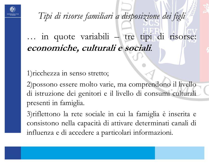 Tipi di risorse familiari a disposizione dei figli … in quote variabili – tre tipi di risorse: economiche, culturali e sociali. 1)ricchezza in senso s
