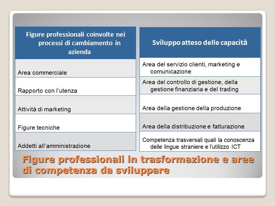 Figure professionali in trasformazione e aree di competenza da sviluppare Figure professionali coinvolte nei processi di cambiamento in azienda Area c