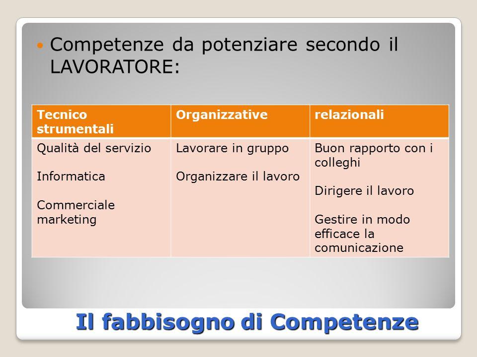 Il fabbisogno di Competenze Competenze da potenziare secondo il LAVORATORE: Tecnico strumentali Organizzativerelazionali Qualità del servizio Informat