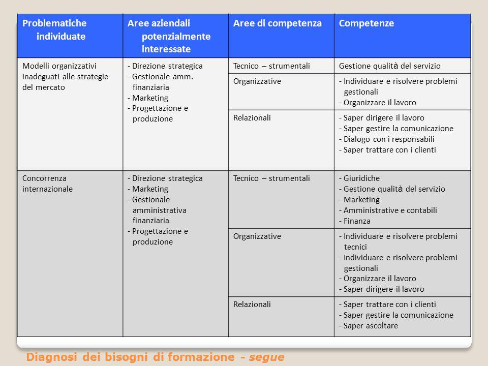 Problematiche individuate Aree aziendali potenzialmente interessate Aree di competenzaCompetenze Modelli organizzativi inadeguati alle strategie del m