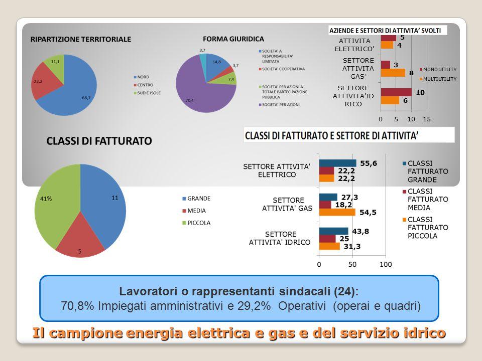Il campione energia elettrica e gas e del servizio idrico Lavoratori o rappresentanti sindacali (24): 70,8% Impiegati amministrativi e 29,2% Operativi