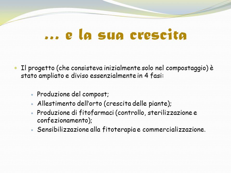 … e la sua crescita Il progetto (che consisteva inizialmente solo nel compostaggio) è stato ampliato e diviso essenzialmente in 4 fasi: Produzione del