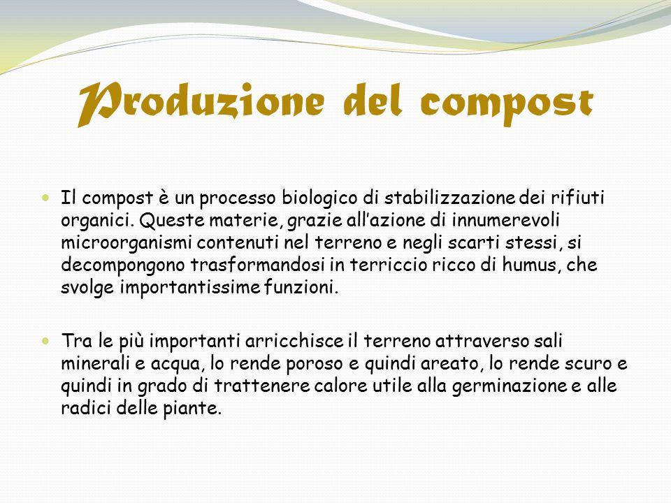 Produzione del compost Il compost è un processo biologico di stabilizzazione dei rifiuti organici. Queste materie, grazie all'azione di innumerevoli m