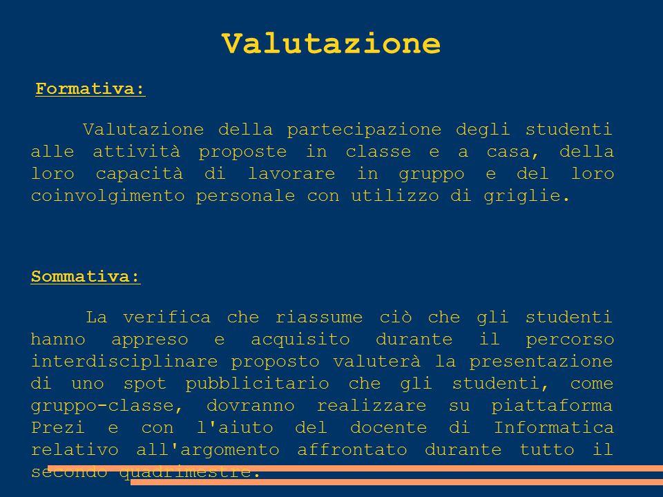 Valutazione Formativa: Valutazione della partecipazione degli studenti alle attività proposte in classe e a casa, della loro capacità di lavorare in g