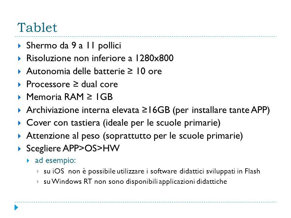 Tablet  Shermo da 9 a 11 pollici  Risoluzione non inferiore a 1280x800  Autonomia delle batterie ≥ 10 ore  Processore ≥ dual core  Memoria RAM ≥