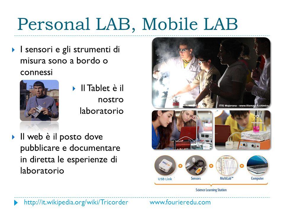 USB Link Personal LAB, Mobile LAB  I sensori e gli strumenti di misura sono a bordo o connessi  Il Tablet è il nostro laboratorio  Il web è il posto dove pubblicare e documentare in diretta le esperienze di laboratorio http://it.wikipedia.org/wiki/Tricorder www.fourieredu.com