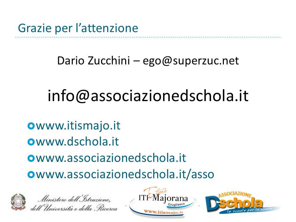 Grazie per l'attenzione Dario Zucchini – ego@superzuc.net info@associazionedschola.it  www.itismajo.it  www.dschola.it  www.associazionedschola.it  www.associazionedschola.it/asso