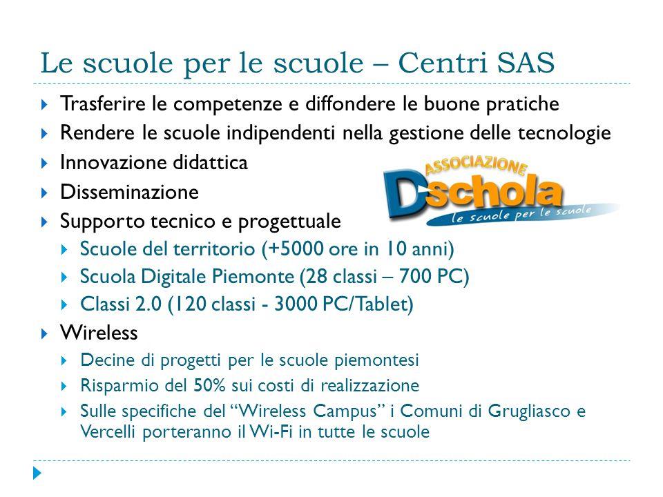 Le scuole per le scuole – Centri SAS  Trasferire le competenze e diffondere le buone pratiche  Rendere le scuole indipendenti nella gestione delle tecnologie  Innovazione didattica  Disseminazione  Supporto tecnico e progettuale  Scuole del territorio (+5000 ore in 10 anni)  Scuola Digitale Piemonte (28 classi – 700 PC)  Classi 2.0 (120 classi - 3000 PC/Tablet)  Wireless  Decine di progetti per le scuole piemontesi  Risparmio del 50% sui costi di realizzazione  Sulle specifiche del Wireless Campus i Comuni di Grugliasco e Vercelli porteranno il Wi-Fi in tutte le scuole