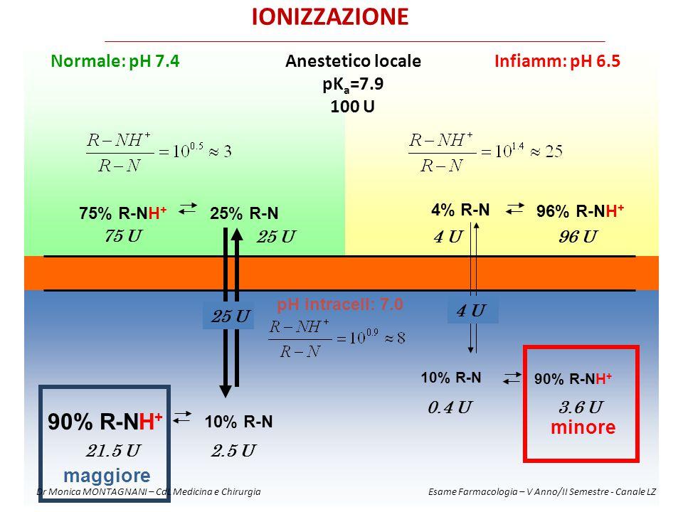 Infiamm: pH 6.5Normale: pH 7.4Anestetico locale pK a =7.9 100 U 75% R-NH + 25% R-N pH intracell: 7.0 10% R-N 90% R-NH + 96% R-NH + 4% R-N 75 U 96 U4 U