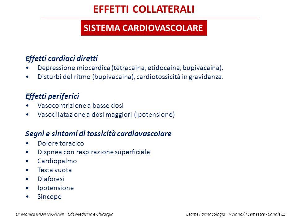 Effetti cardiaci diretti Depressione miocardica (tetracaina, etidocaina, bupivacaina), Disturbi del ritmo (bupivacaina), cardiotossicità in gravidanza