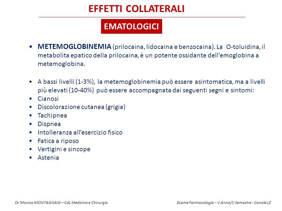 METEMOGLOBINEMIA (prilocaina, lidocaina e benzocaina). La O-toluidina, il metabolita epatico della prilocaina, è un potente ossidante dell'emoglobina