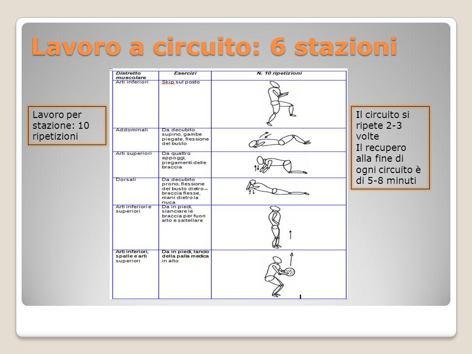 Lavoro a circuito: 6 stazioni Lavoro per stazione: 10 ripetizioni Il circuito si ripete 2-3 volte Il recupero alla fine di ogni circuito è di 5-8 minu