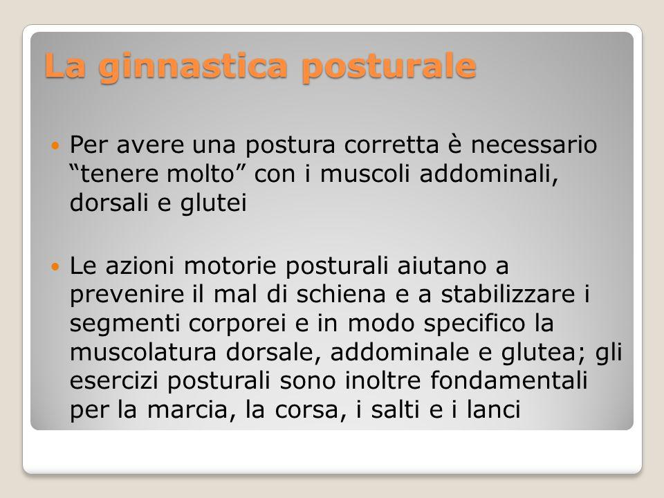 """Per avere una postura corretta è necessario """"tenere molto"""" con i muscoli addominali, dorsali e glutei Le azioni motorie posturali aiutano a prevenire"""