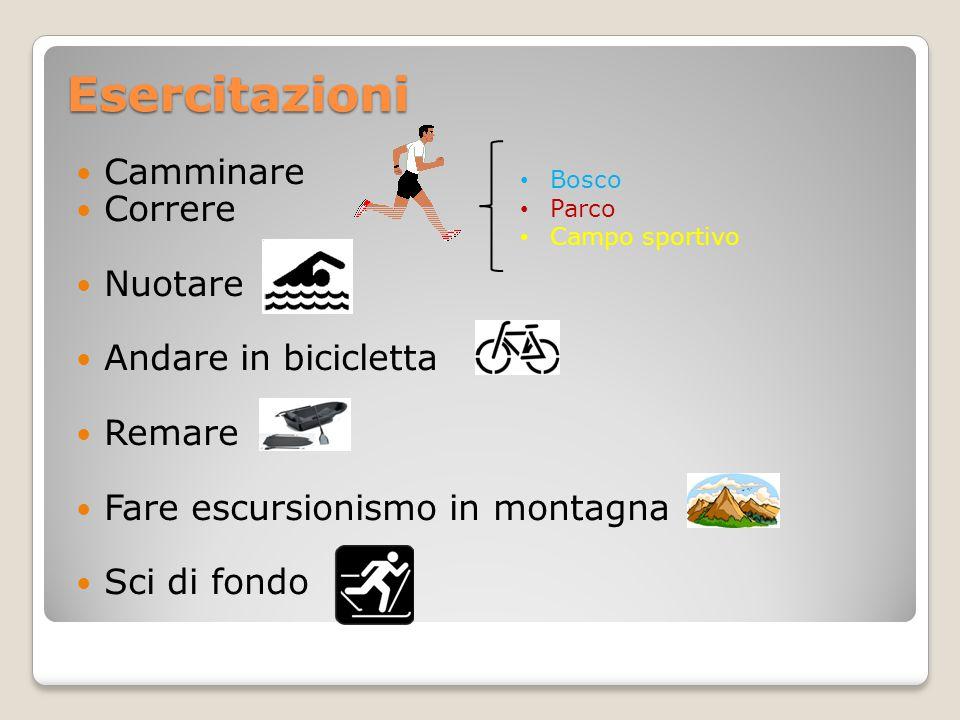 Esercitazioni Camminare Correre Nuotare Andare in bicicletta Remare Fare escursionismo in montagna Sci di fondo Bosco Parco Campo sportivo