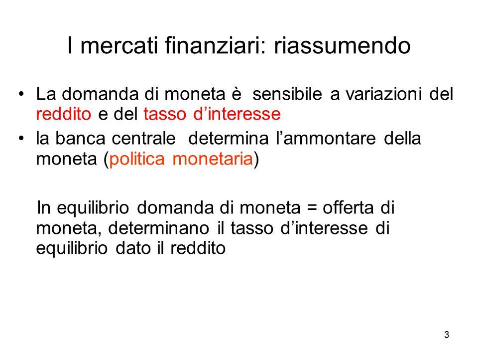 3 I mercati finanziari: riassumendo La domanda di moneta è sensibile a variazioni del reddito e del tasso d'interesse la banca centrale determina l'am