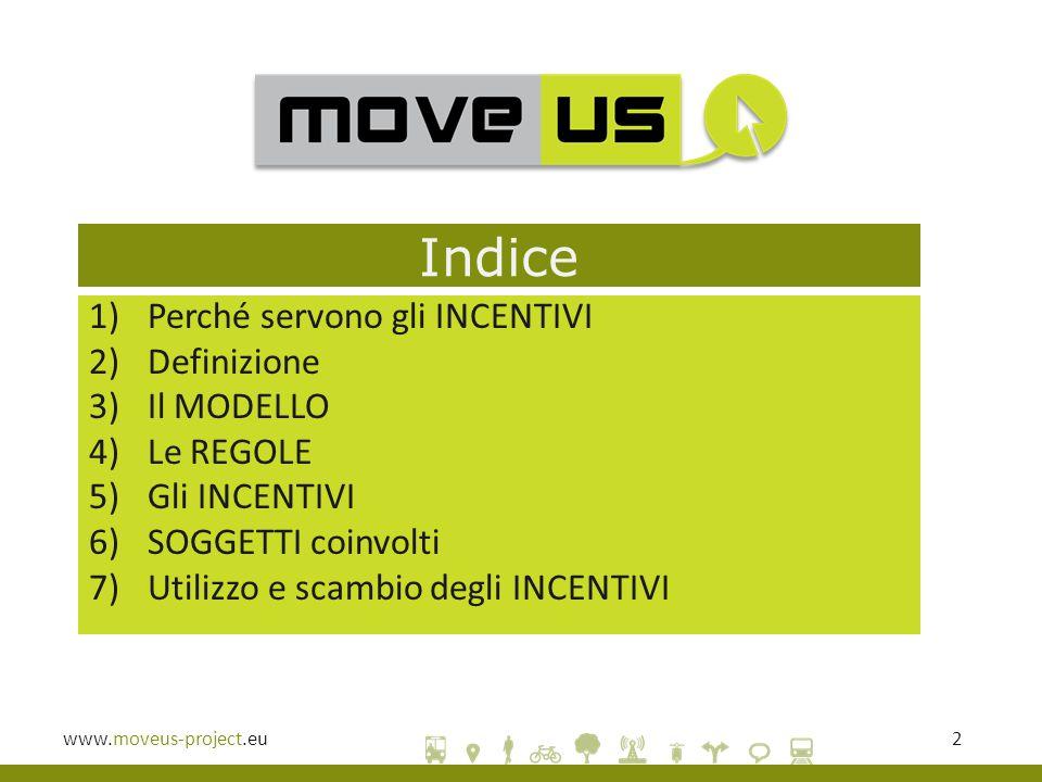 www.moveus-project.eu2 Indice 1)Perché servono gli INCENTIVI 2)Definizione 3)Il MODELLO 4)Le REGOLE 5)Gli INCENTIVI 6)SOGGETTI coinvolti 7)Utilizzo e scambio degli INCENTIVI
