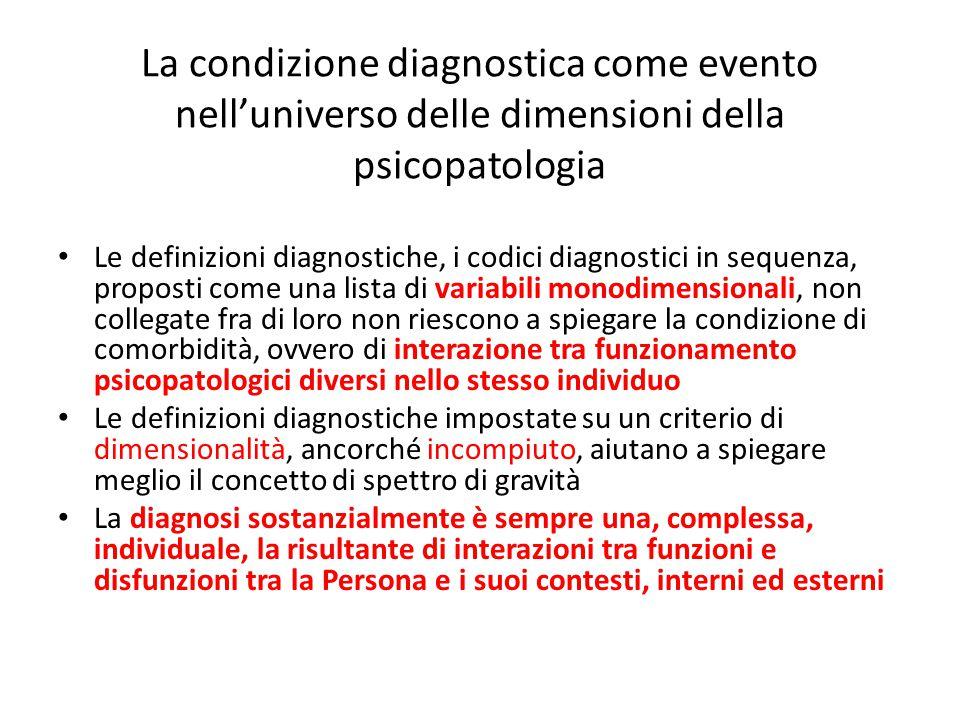 La condizione diagnostica come evento nell'universo delle dimensioni della psicopatologia Le definizioni diagnostiche, i codici diagnostici in sequenz