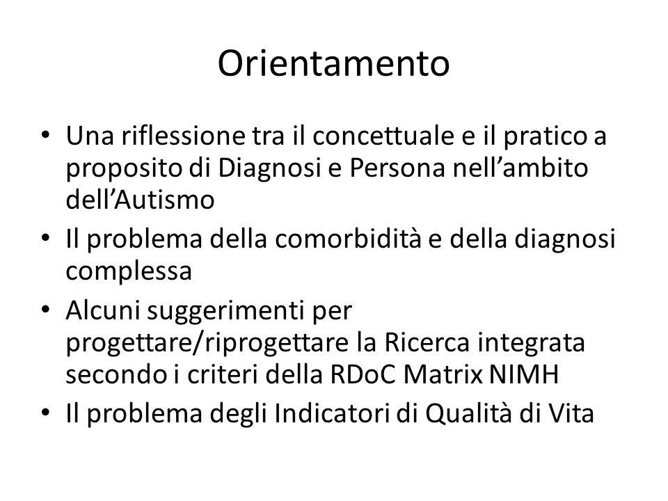 Orientamento Una riflessione tra il concettuale e il pratico a proposito di Diagnosi e Persona nell'ambito dell'Autismo Il problema della comorbidità