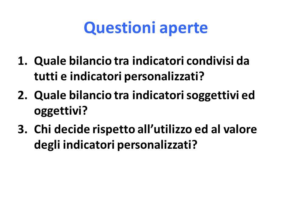 Questioni aperte 1.Quale bilancio tra indicatori condivisi da tutti e indicatori personalizzati? 2.Quale bilancio tra indicatori soggettivi ed oggetti