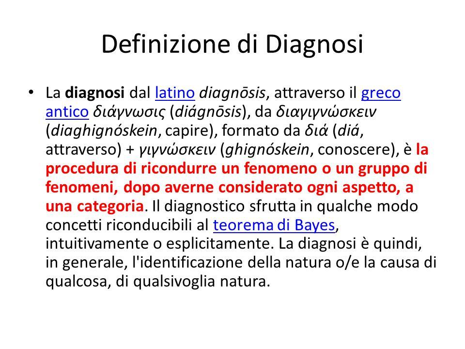 Definizione di Diagnosi La diagnosi dal latino diagnōsis, attraverso il greco antico διάγνωσις (diágnōsis), da διαγιγνώσκειν (diaghignóskein, capire),