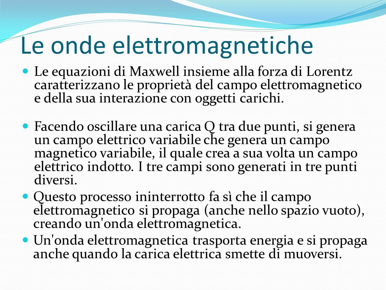 Le onde elettromagnetiche Le equazioni di Maxwell insieme alla forza di Lorentz caratterizzano le proprietà del campo elettromagnetico e della sua interazione con oggetti carichi.